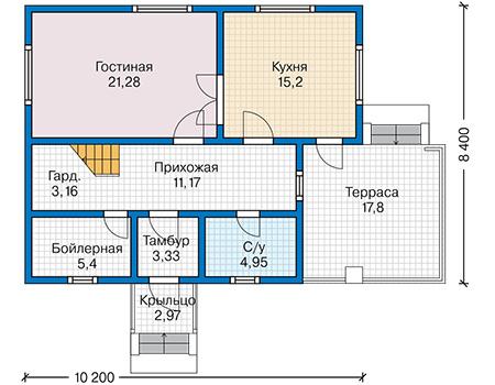 Планировка первого этажа :: Проект каркасного дома 90-39