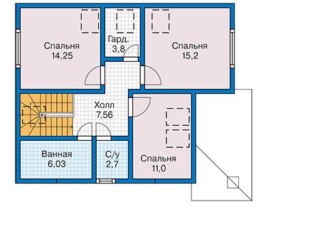 Планировка мансардного этажа :: Проект каркасного дома 90-39