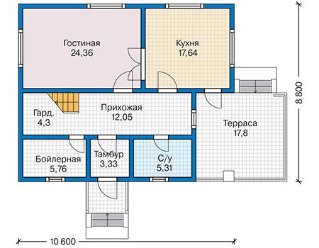 Планировка первого этажа :: Проект каркасного дома 90-40