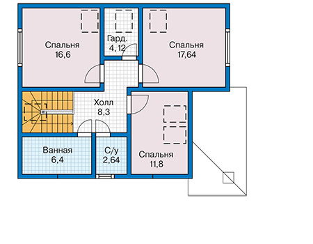 Планировка мансардного этажа :: Проект каркасного дома 90-40