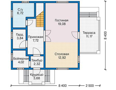 Планировка первого этажа :: Проект каркасного дома 90-41