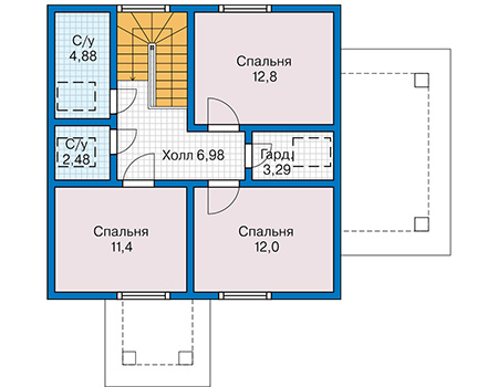 Планировка мансардного этажа :: Проект каркасного дома 90-41