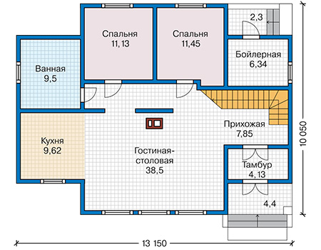 Планировка первого этажа :: Проект каркасного дома 90-43