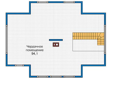 Планировка мансардного этажа :: Проект каркасного дома 90-43