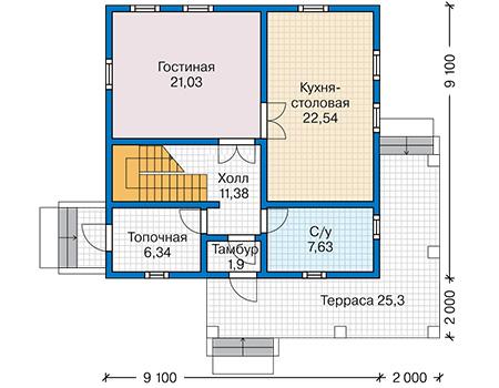 Планировка первого этажа :: Проект каркасного дома 90-44
