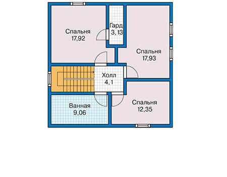 Планировка мансардного этажа :: Проект каркасного дома 90-44