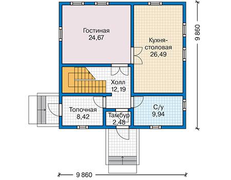 Планировка первого этажа :: Проект каркасного дома 90-47