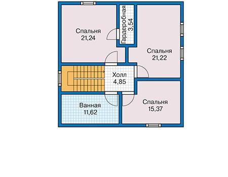 Планировка мансардного этажа :: Проект каркасного дома 90-47