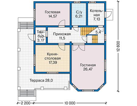 Планировка первого этажа :: Проект каркасного дома 90-48