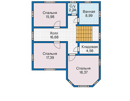 Планировка второго этажа :: Проект каркасного дома 90-48