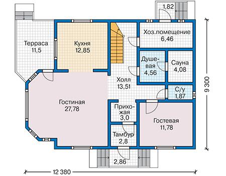 Планировка первого этажа :: Проект каркасного дома 90-52