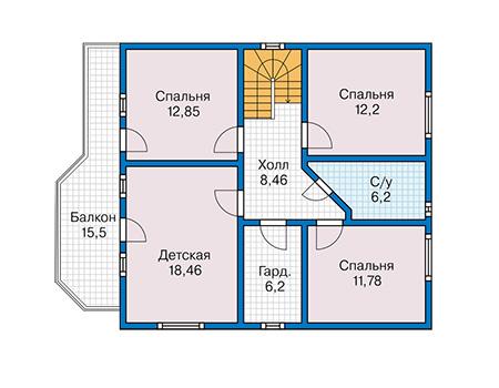 Планировка мансардного этажа :: Проект каркасного дома 90-52