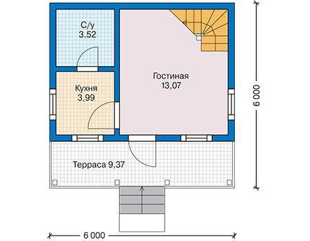 Планировка первого этажа :: Проект каркасного дома 90-58