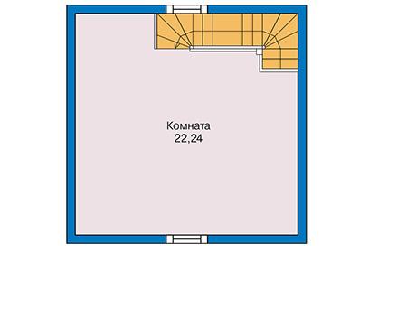 Планировка мансардного этажа :: Проект каркасного дома 90-58