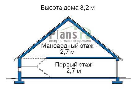 Высота этажей в проекте деревянного дома 10-44