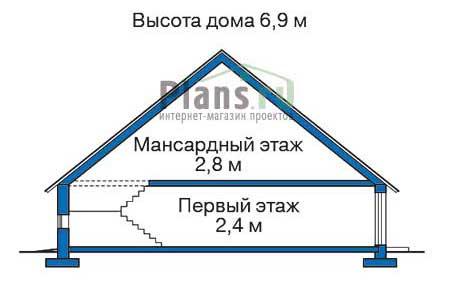 Высота этажей в проекте деревянного дома 10-76
