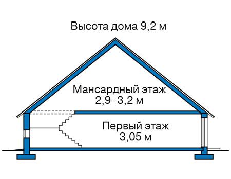 Высота этажей в проекте деревянного дома 12-78