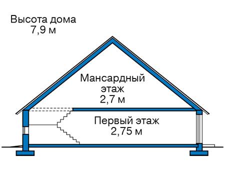 Высота этажей в проекте дома из кирпича 41-44