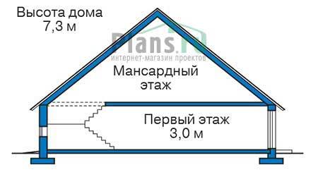 Высота этажей в проекте дома из кирпича 73-71