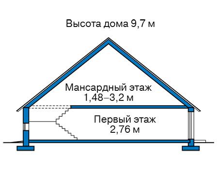 Высота этажей в проекте каркасного дома 90-39