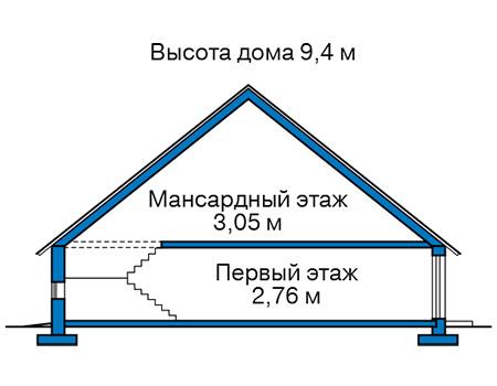 Высота этажей в проекте каркасного дома 90-41
