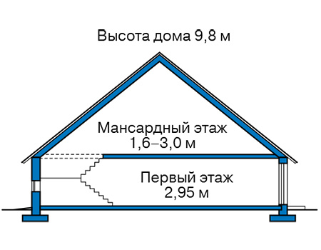 Высота этажей в проекте каркасного дома 90-44